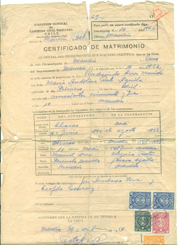 Certificado De Matrimonio Catolico : Certificado de matrimonio memorias del siglo xx chile
