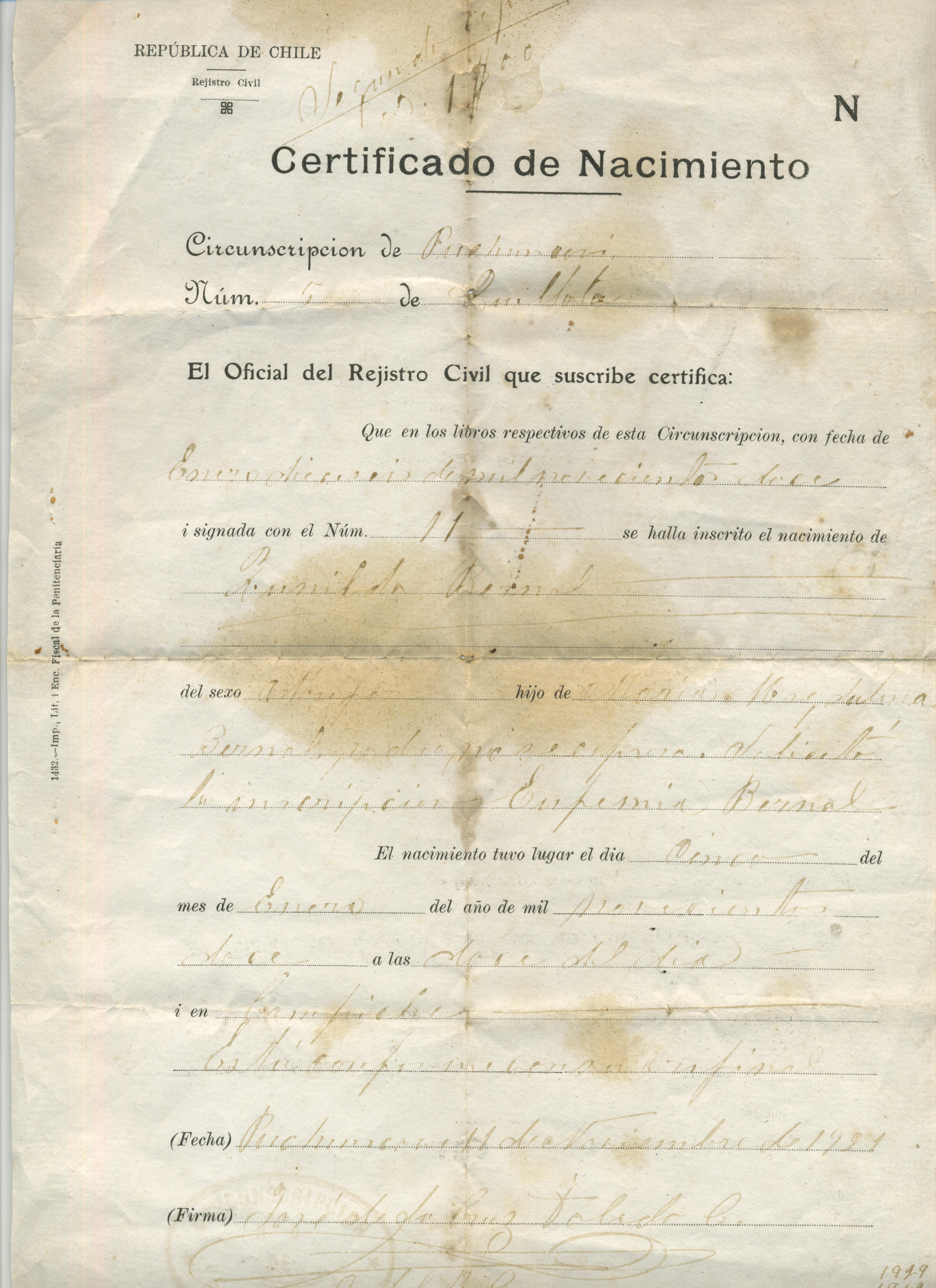 Certificado de nacimiento de Zunilda Bernal - Memorias del Siglo XX ...