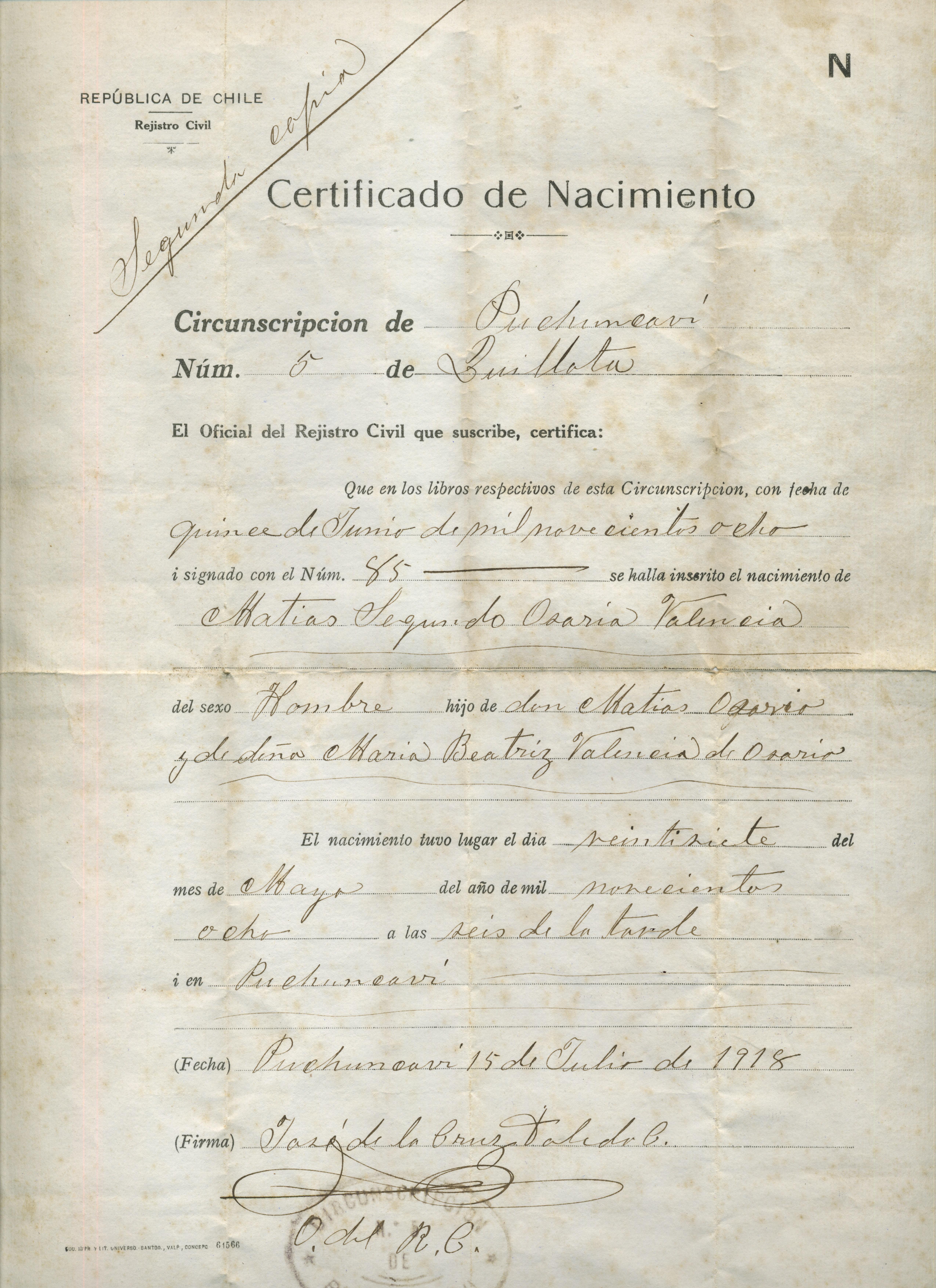Registro Civil - Memorias del Siglo XX - Chile - DIBAM