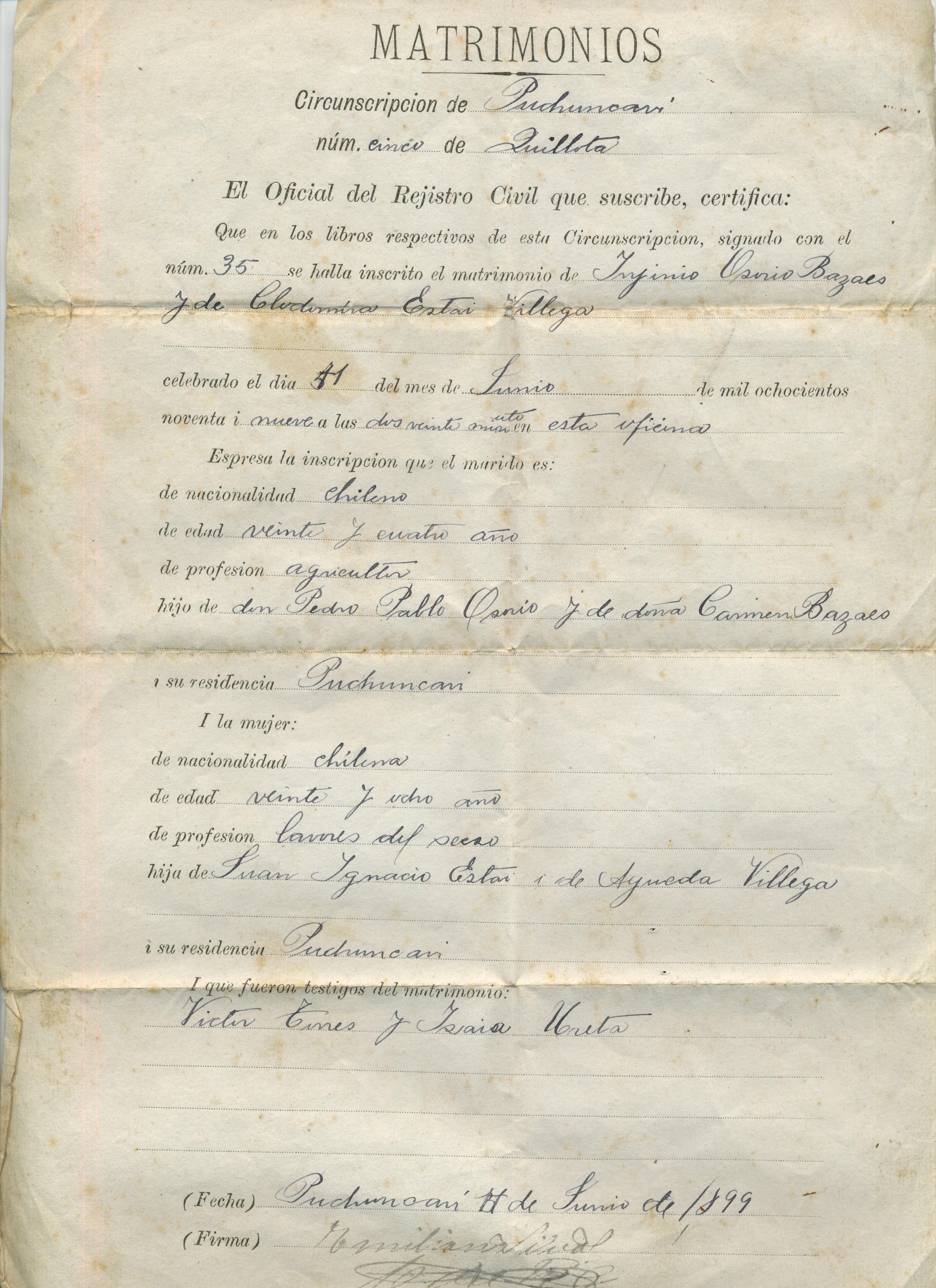 Certificado de matrimonio - Memorias del Siglo XX - Chile - DIBAM